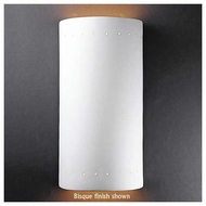 Justice Design 1195 Ambiance Ceramic Really Big Cylinder w/ Perforations Open Top Wall Sconce