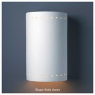 Justice Design 5290 Ambiance Large Closed Top ADA Cylinder w/ Perforations Wall Sconce
