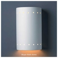 Justice Design 5990 Ambiance ADA Small Closed Top Cylinder w/ Perforations Wall Sconce