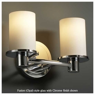 Justice Design 851210 Rondo 2-Light Contemporary Vanity Light with Flat Rim Cylinder Glass