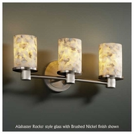 Justice Design 851310 Rondo 3-Light Contemporary Vanity Light with Flat Rim Cylinder Glass