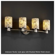 Justice Design 851410 Rondo 4-Light Contemporary Vanity Light with Flat Rim Cylinder Glass