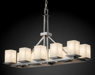 Justice Design 8650 Montana 10-light Rectangular Ring Contemporary Chandelier with Square Shade - Many Glass Options