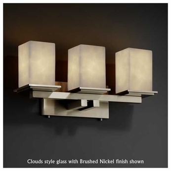 Justice Design 867315 Montana 3-Light Contemporary Vanity Light with Flat Rim Square Glass