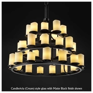 Justice Design 871214 Dakota 36-Light Ring Chandelier with Melted Rim Cylinder Glass