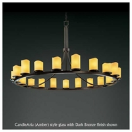 Justice Design 871614 Dakota 15-Light Ring Chandelier with Melted Rim Cylinder Glass