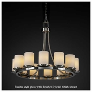 Justice Design 8768-10 Dakota 12-Light Short Ring Chandelier with Flat Rim Glass