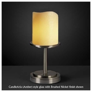 Justice Design 879814 Dakota 1-Light Short Table Lamp with Melted Rim Cylinder Glass