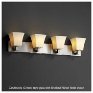 Justice Design 892440 Modular 4-Light Contemporary Vanity Light with Square Flared Glass