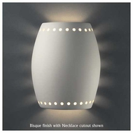 Justice Design 9045 Sun Dagger Pillowed Cylinder Wall Sconce, Open Top