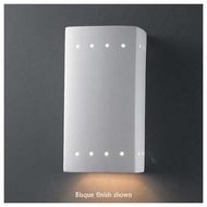 Justice Design 920 Ambiance Ceramic Small Rectangle Wall Sconce w/ Perforations, Closed Top