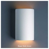 Justice Design 945 Ambiance Ceramic Small Cylinder Wall Sconce, Open Top & Bottom