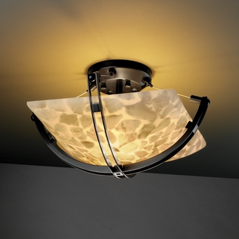 Justice Design 9710 Crossbar Semi-flush 14  Round or Square Bowl Ceiling Light Fixture - Multiple Shape/Color Options