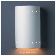 Justice Design 990 Ambiance Ceramic Small Cylinder Wall Sconce w/ Perforations, Closed Top