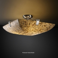 Justice Design ALR-9612-25 U-Clips Square Bowl Semi Flush Ceiling Light Fixture - Alabaster Glass