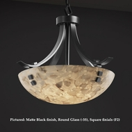 Justice Design ALR-9751 Flat Bars 18 Inch Diameter Transitional Alabaster Glass Bowl Hanging Light