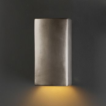 Justice Design CER-0910-ANTS Ambiance Small Rectangle Modern Antique Silver LED Ceramic Wall Sconce