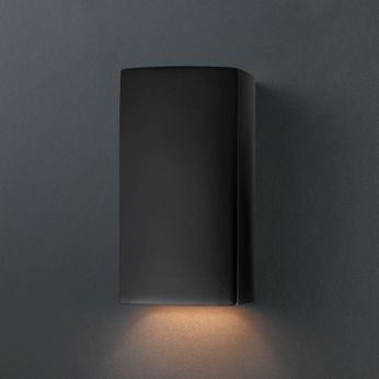 Justice Design CER-0910-CRB Ambiance Small Rectangle Modern Carbon Matte Black LED Ceramic Wall Lamp