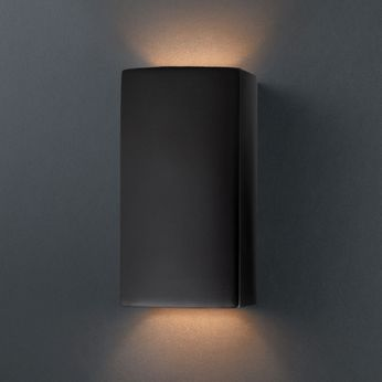 Justice Design CER-0915 Ambiance Small Rectangle Contemporary Ceramic LED Wall Lighting