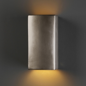 Justice Design CER-0915-ANTS Ambiance Small Rectangle Modern Antique Silver LED Ceramic Light Sconce