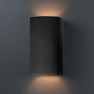 Justice Design CER-0915W-CRB Ambiance Small Rectangle Contemporary Carbon Matte Black LED Exterior Ceramic Wall Sconce Lighting