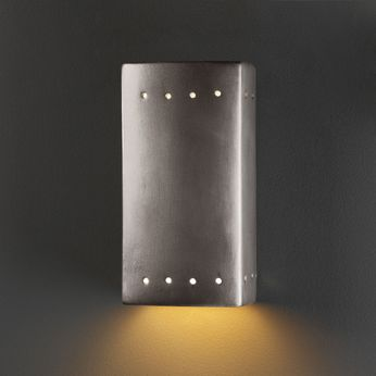 Justice Design CER-0920-ANTS Ambiance Small Rectangle Contemporary Antique Silver LED Ceramic Wall Light Fixture