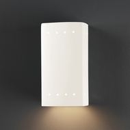 Justice Design CER-0920W-WHT Ambiance Small Rectangle Contemporary Gloss White LED Exterior Ceramic Wall Sconce Lighting