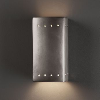 Justice Design CER-0925-ANTS Ambiance Small Rectangle Contemporary Antique Silver LED Ceramic Wall Mounted Lamp