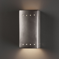 Justice Design CER-0925W Ambiance Small Rectangle Contemporary Ceramic LED Outdoor Wall Sconce Lighting