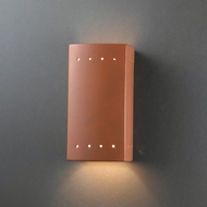 Justice Design CER-0925W-TERA Ambiance Small Rectangle Contemporary Terra Cotta LED Exterior Ceramic Wall Sconce Light