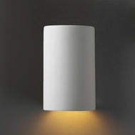 Justice Design CER-0940W-BIS Ambiance Small Cylinder Contemporary Bisque LED Exterior Ceramic Sconce Lighting