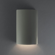 Justice Design CER-0940W-PWGN Ambiance Small Cylinder Contemporary Pewter Green LED Outdoor Ceramic Light Sconce