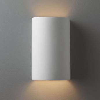 Justice Design CER-0945 Ambiance Small Cylinder Contemporary Ceramic LED Wall Lighting Sconce