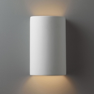 Justice Design CER-0945W-BIS Ambiance Small Cylinder Modern Bisque LED Exterior Ceramic Wall Sconce Lighting