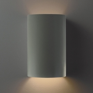 Justice Design CER-0945W-PWGN Ambiance Small Cylinder Contemporary Pewter Green LED Outdoor Ceramic Wall Light Fixture