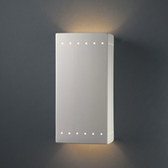 Justice Design CER-0965W-BIS Ambiance Large Rectangle Contemporary Bisque LED Exterior Ceramic Wall Sconce Lighting