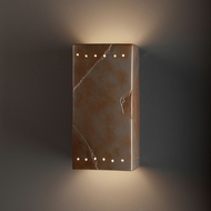 Justice Design CER-0965W-SLTR Ambiance Large Rectangle Contemporary Tierra Red Slate LED Outdoor Ceramic Wall Mounted Lamp