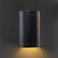 Justice Design CER-0990W-CRB Ambiance Small Cylinder Contemporary Carbon Matte Black LED Exterior Ceramic Wall Lighting Fixture