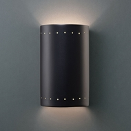Justice Design CER-0995W-CRB Ambiance Small Cylinder Contemporary Carbon Matte Black LED Outdoor Ceramic Wall Sconce Light