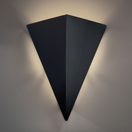 Justice Design CER-1140W-CRB Ambiance Triangle Contemporary Carbon Matte Black LED Outdoor Ceramic Sconce Lighting