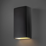 Justice Design CER-1170W-CRB Ambiance Rectangle Contemporary Carbon Matte Black LED Outdoor Ceramic Wall Sconce Lighting