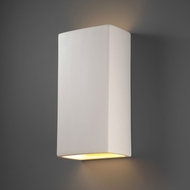 Justice Design CER-1175W-BIS Ambiance Rectangle Modern Bisque LED Exterior Ceramic Wall Lighting Sconce