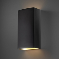 Justice Design CER-1175W-CRB Ambiance Rectangle Contemporary Carbon Matte Black LED Outdoor Ceramic Wall Sconce Lighting