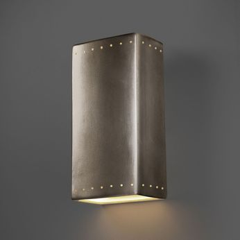 Justice Design CER-1180-ANTS Ambiance Rectangle Modern Antique Silver LED Ceramic Wall Mounted Lamp