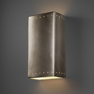 Justice Design CER-1185W-ANTS Ambiance Rectangle Modern Antique Silver LED Outdoor Ceramic Wall Light Sconce