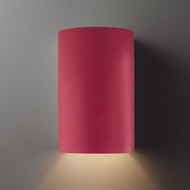 Justice Design CER-1260W-CRSE Ambiance Large Cylinder Contemporary Cerise LED Exterior Ceramic Wall Lamp