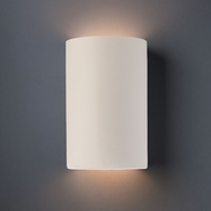 Justice Design CER-1265W-MAT Ambiance Large Cylinder Contemporary Matte White LED Outdoor Ceramic Lamp Sconce