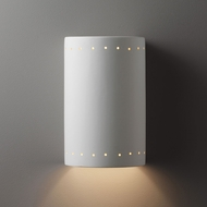Justice Design CER-1290W-BIS Ambiance Large Cylinder Contemporary Bisque LED Exterior Ceramic Lighting Wall Sconce