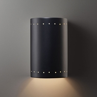 Justice Design CER-1290W-CRB Ambiance Large Cylinder Contemporary Carbon Matte Black LED Outdoor Ceramic Wall Lighting Sconce