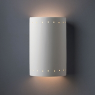 Justice Design CER-1295W-BIS Ambiance Large Cylinder Contemporary Bisque LED Exterior Ceramic Wall Light Sconce